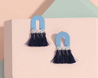 Baby Blue and Navy tassel earrings, Geometric earrings, Fringe earrings, Statement earrings, Mix tone earrings, Spring summer earrings