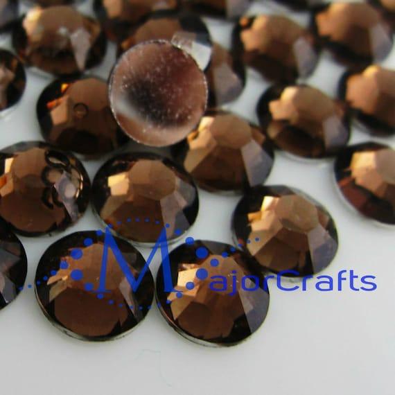 Dark Brown Flat Back Round Resin Rhinestones Embellishment Gems C40