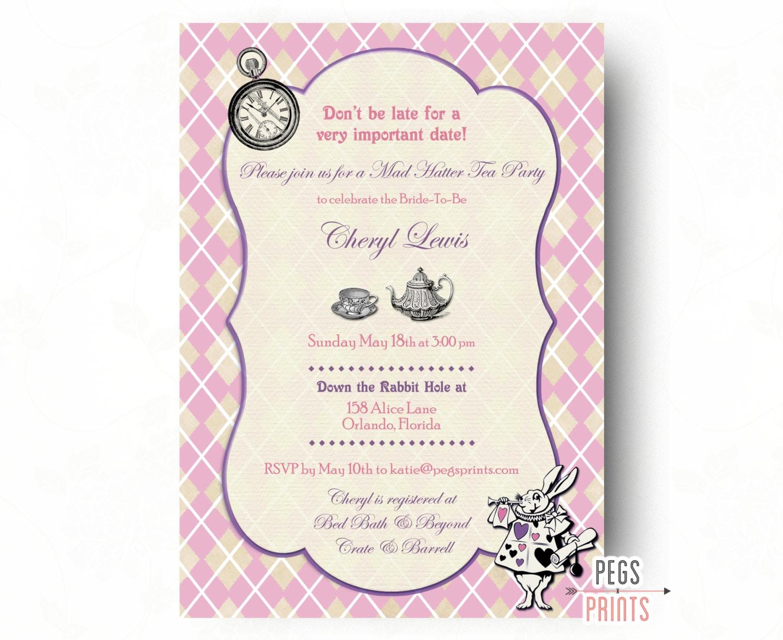 Mad Hatter Bridal Shower Invitation Mad Hatter Tea Party
