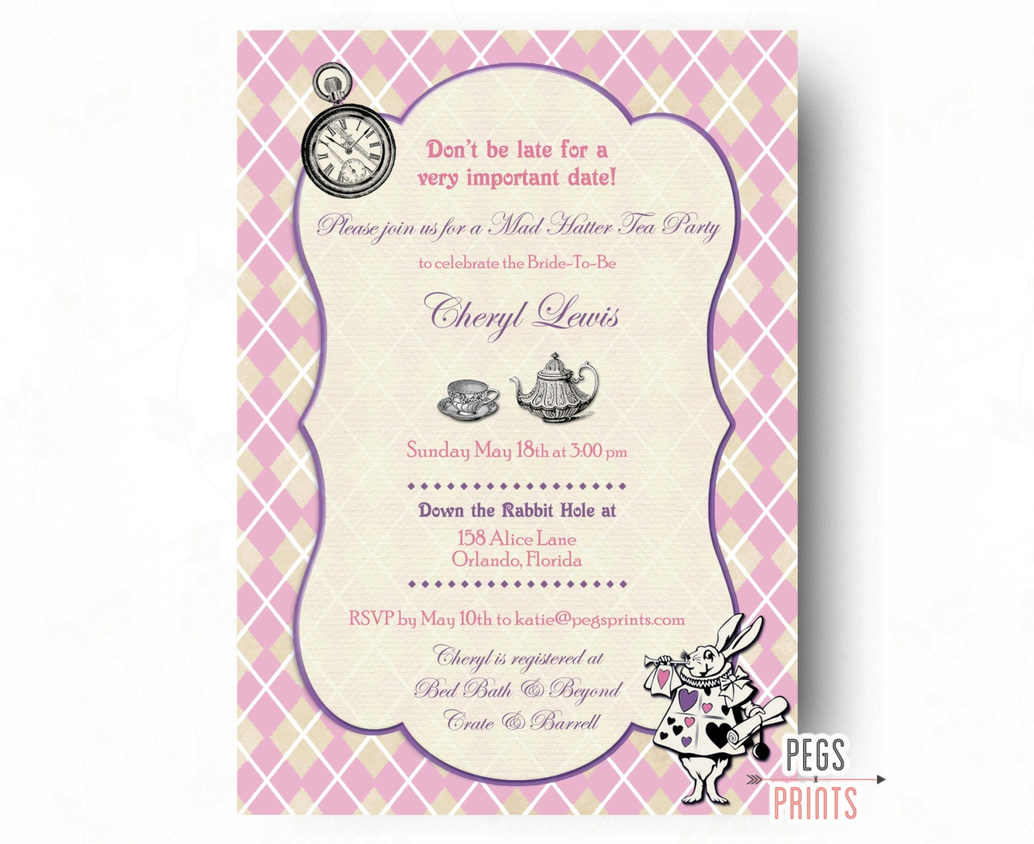 Mad Hatter Bridal Shower Invitation Mad Hatter Tea Party