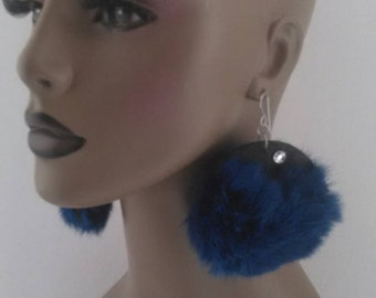 Fabulous Blue Fuzzy Furry Earrings on Black with Rhinestones , Furry Earrings, Women Earrings, Blue Earrings, Fur Earrings