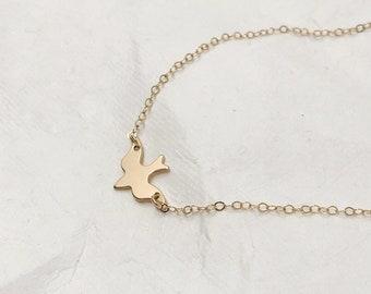 Custom Charm bracelet, Bird silhouette bracelet, Graduation gift, Dove charm bracelet, Gold fill, Rose gold fill, Sterling silver, Layer