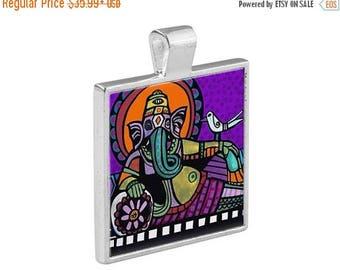 SALE ENDING- Ganesh Folk Art Jewelry - Pendant Metal  Gift Art Heather Galler Gift - Ganesha Spiritual Obstacle Breaker Hindu Religious Ic