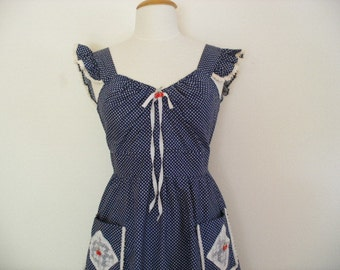 Country Garden Girl Rockabilly Pin Up Dita Von Teese Vintage 50s Red Cherry Dress in Navy With White Polka Dots
