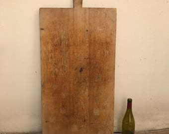 ANTIQUE VINTAGE FRENCH bread or chopping cutting board wood tall 0509177