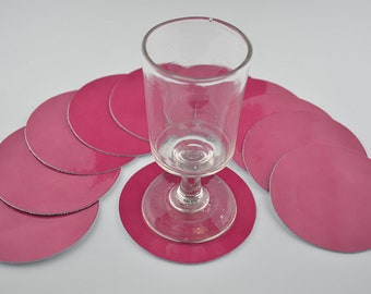 10 pink cowhide leather coasters