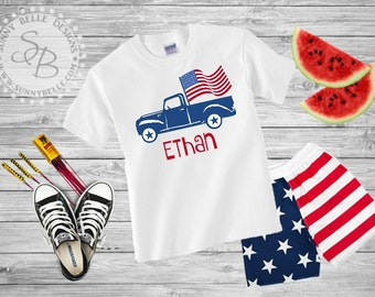 Personalized 4th of July Kids Shirt // Patriotic Truck Kids Shirt // Red White and Blue shirts // USA shirt