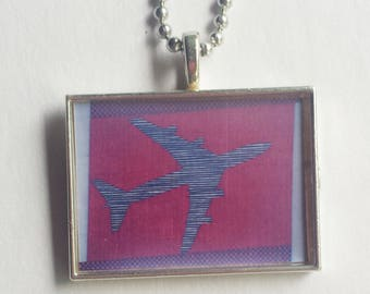 Jet Necklace, Resin Pendant, Flight Attendant, Pilot Gift, 747 Airplane, Plane Charm, Aviation, Black Red Gray, Airport, Traveler, Geometric