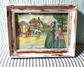 Vintage Folk Art, Fabric Swatch Embroidery, Needlework Sample, Victorian Ladies, Horse and Carriage, Shabby Chic, Cottage Decor