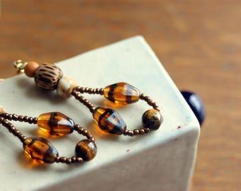 Beaded Earrings, Glass and Wood Beads, Tiger's Eye
