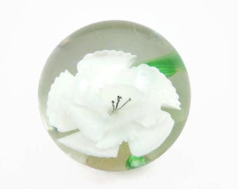 Glass Paperweight - White Flowers