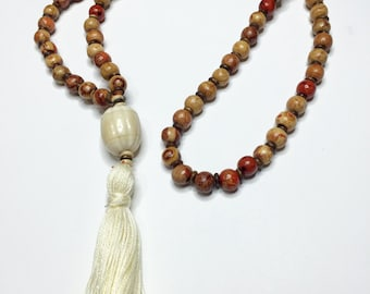 Wood Mala Necklace with Bone Focal Bead + Tassel