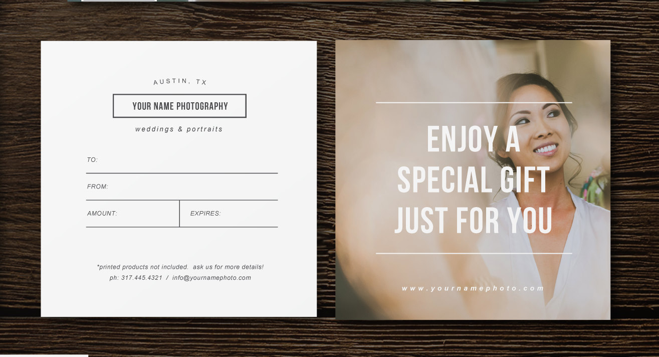 Photographer gift certificate template photography gift card zoom yelopaper Image collections
