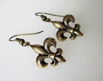 Small Fleur De Lis Earrings, Gold Celtic Jewelry, Celtic Earrings, Men, Unisex Dangle, Christmas Gift, Stocking Stuffer