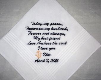 Embroidered wedding handkerchief, wedding handkerchief, hankerchief, Groom, Grooms Gift, Personalized, By: MemoriesMadeApparel