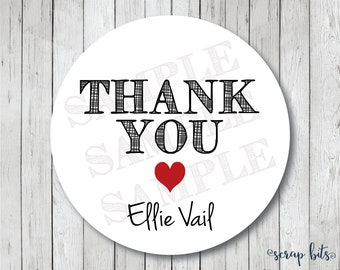 Heart Thank You Stickers, Personalized Wedding Stickers, Thank You Tags