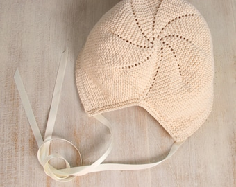 Baby Bonnet / Knitting Instructions in English / 6 Sizes : Newborn, 3 months, 6 / 9 months, 12 - 18 months, 24 months and 36 / 48 months.
