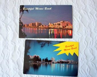 Set of 2 Vintage Miami Beach Postcard, Vintage Hotel postcard,  Night Postcard, Florida postcard