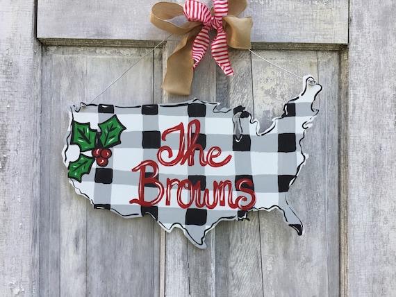 Buffalo check Holiday door hanger, Holiday American door hanger, USA sign, america door hanger, Christmas door hanger, winter door hanger