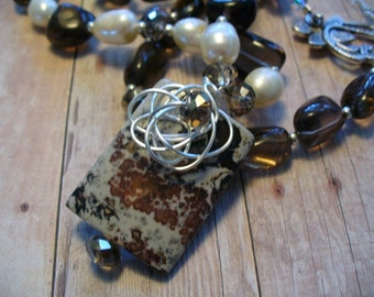 Jasper Chocolate Necklace Pendant with Freshwater Pearls Wire Wrapped