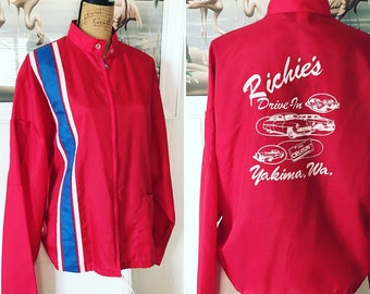 Cool Vintage Guys Racing Jacket - Windbreaker from the 60's -- Harder to Find XL Size