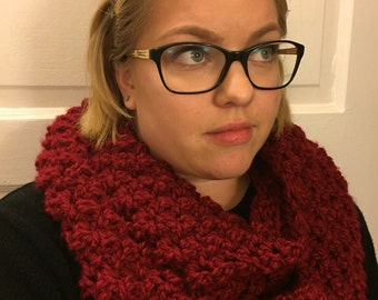 Red Cowl, Red Infinity Scarf, Red Crochet Cowl, Red Crochet Infinity Scarf, Red Crochet Scarf