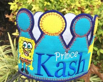 Boys Birthday Crown, Sponge Bob Birthday, Personalized Sponge Bob Hat, Sponge Bob Birthday Ideas,