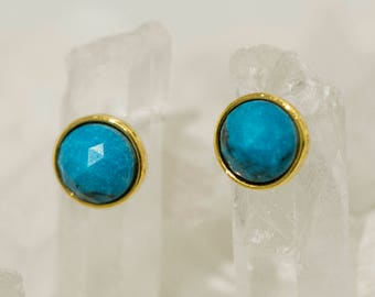 Turquoise Blue Stud Earrings - Turquoise Studs - Gold Posts - Round Earrings - Circle Studs - Minimalist Jewelry