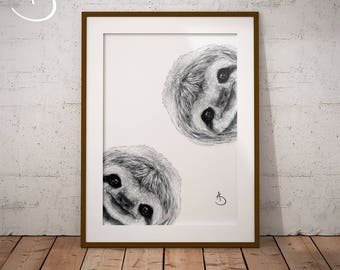 CUTE CURIOUS SLOTH Drawing download, Sloth Wall decor, Curious Sloth Print, Printable Sloth Poster, Sloth Decor, Curious Animals, Sloth Art