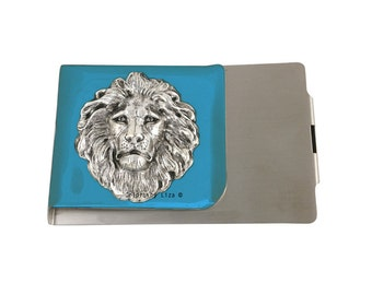 Lion Large Money Clip Wallet Double Sided Inlaid in Hand Painted Turquoise Opaque Glossy Enamel Finish with Personalized and Color Options