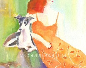 Italian Greyhound, Dog Art, Greyhound art,greyhound prints, greyhounds, Italian greyhound art,greyhound watercolor