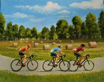 Original oil painting art Biking Through the Countryside Top selling artist