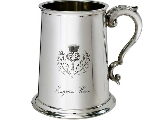 Personalised Scottish Thistle Pewter 1 Pint Tankard Customised Engraved Message