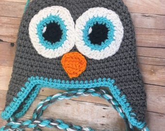 Toddler Owl Hat in Gray and Blue/Turquoise