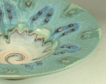 Small Ceramic Bowl-  in turquoise handmade stoneware pottery dish