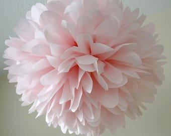 Blush tissue paper pompom baby girl first birthday party nursery decoration bridal shower brunch pink theme bat mitzvah wedding aisle marker
