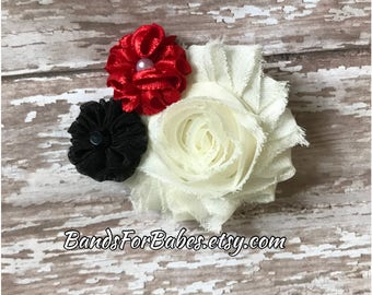 Ivory Red and Black Flower Hair Clip, Christmas Flower Hair Accessory, Flower Girl Accessory, Bridesmaid Hair Piece, Claw Alligator Clip,