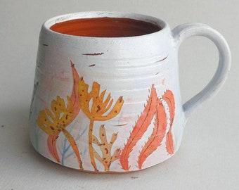Seaweed Mug - wheel thrown, handmade terracotta pottery with botanical coastal illustration. OOAK. Gift