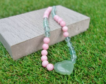 Rose Pink & Green Heart Necklace