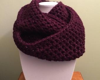Handmade Purple Sparkle Infinity Scarf - Crochet Infinity Scarf - Knit Scarf - Infinity Scarf