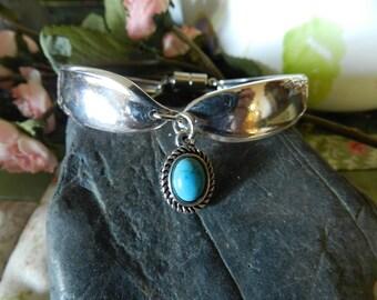 Spoon Bracelet, Silverware Bracelet, Silverware Jewelry,  Fork Bracelet, Turquoise Charm, Flatware Jewelry, SilverPlated Jewelry (B64)