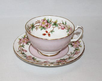 Floral China Pink Wild Rose Tea Cup and Saucer