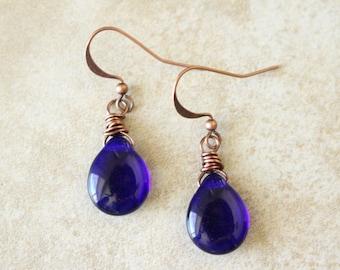 Blue Teardrop Earrings, Cobalt Blue Earrings, Teardrop Earrings, Czech Glass Beads, Copper Earrings, Blue and Copper Earrings, Boho Style
