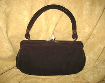 Rosenfeld Purse 40s 50s Brown Suede Vintage