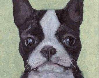 ORIGINAL Boston Terrier Canvas Painting by KAZUMI 8x8 inches