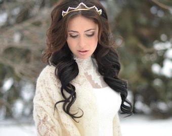 bridal tiara, bridal crown gold, bridal headpiece, bridal headband, bridal tiara pearl, Wedding headband, crystal headpiece, gift for bride