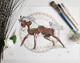 Horse art, Horse decor, Native American art, American Indian decor, Dream catcher, Native American, boho decor, Horse painting, boho prints