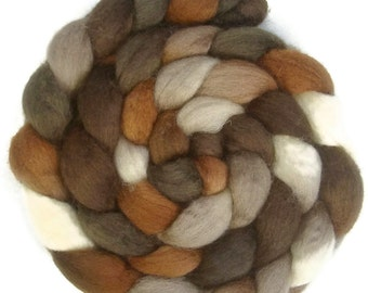 Handpainted BFL Wool Roving - 4 oz. CAPPUCCINO - Spinning Fiber
