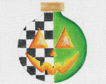 Green with Black and White Check Pumpkin Needlepoint Ornament - Jody Designs #B229 GREEN