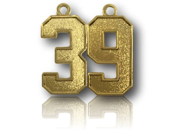 """Number 39 Jersey Style Sports Necklace Charm Pendant (0.8"""" Tall)  GOLD PLATED Football Baseball Basketball Soccer Lacrosse Hockey"""